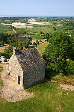 view of Mount dol on polders, crops in the sand, ille and vilaine, brtagne, France