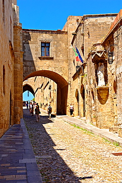 The Medieval buildings of the Avenue of the Knights where there were 7 dfferent lodges for Knights speaking different languages Rhodes, Greece, UNESCO World Heritage Site