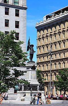 Canada, Quebec, Montreal, Place dArmes, de Maisonneuve statue,