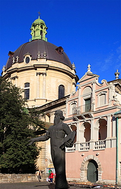 Ukraine, Lviv, Dominican Cathedral, Ivan Fedorov statue,