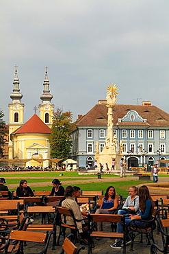 Romania, Timisoara, Piata Unirii, square, people, Serbian Orthodox Church,