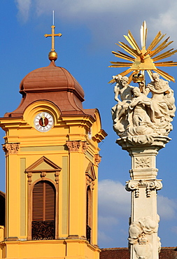Romania, Timisoara, Piata Unirii, Roman Catholic Cathedral, Trinity Column,