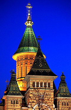 Romania, Timisoara, Metropolitan Cathedral, at night,