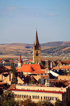 Romania, Sibiu, skyline, aerial view, Evangelical Church,