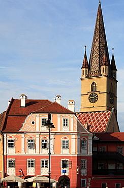 Romania, Sibiu, Piata Mica, Casa Luxemburg, Evangelical Church,