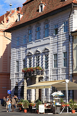 Romania, Sibiu, street scene, typical architecture,