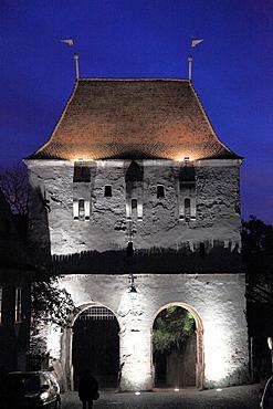 Romania, Sighisoara, town gate, night,