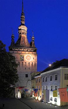 Romania, Sighisoara, Clock Tower, night,