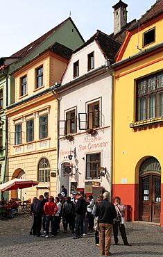 Romania, Sighisoara, old town, main square, people,