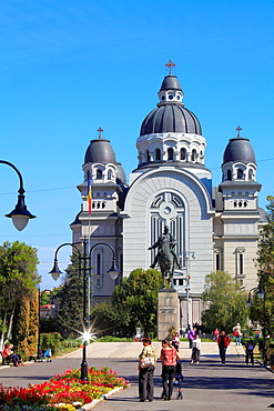Romania, Targu Mures, Orthodox Cathedral, street scene, people,