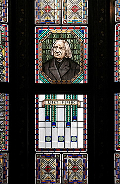 Romania, Targu Mures, Culture Palace, stained glass window, Ferenc Liszt image,