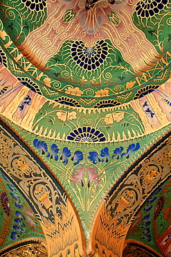 Romania, Targu Mures, Culture Palace, interior, painted ceiling,