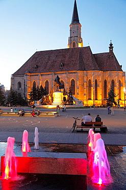 Romania, Cluj-Napoca, St Michaels Church, Matthias Corvinus statue,
