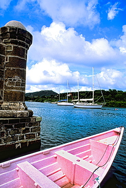 Beautiful port with ships and ocean in famous colorful Nelsons Dockyard in English Harbour in Antigua