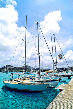 Ships at dock in the famous English Harbour near Nelsons Dockyard in the Caribbean Antigua