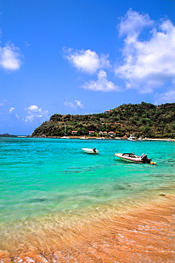 Beautful blue waters and boats of the quiet Carlisle Bay Antigua
