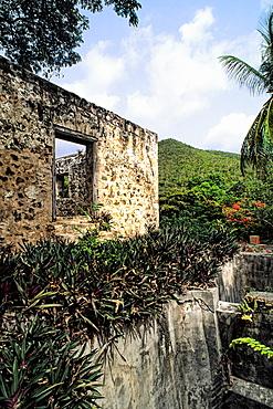 Tourists at Anna Berg Sugar Mills at St Johns Virgin Islands Caribbean