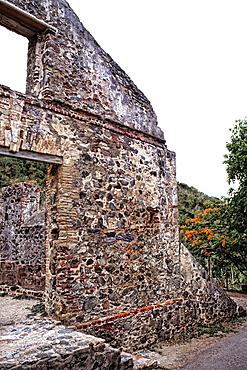 Tourists at Anna Berg Sugar Mills at St Johns Virgin Islands Caribbean USVI