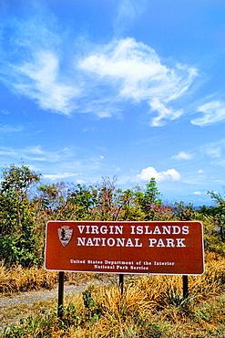 Signage for Virgin Islands Nat Park I St Johns Caribbean USVI