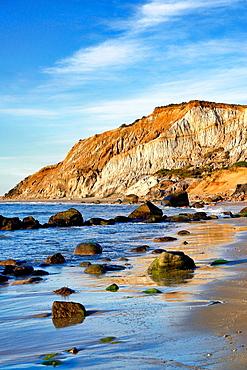Coastal clay cliffs and rock formations, Gay Head, Aquinnah, Martha¥s Vineyard, Massachusetts, USA  Tribal lands of the native american Wampanoag tribe