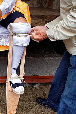 preparing ¥Danza de los Zancos¥ folk dance, Anguiano, La Rioja, Spain