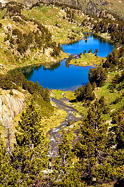Redon and Long lakes,Colomers cirque,Aran Valley, Aiguestortes and Estany de Sant Maurici National Park,Pyrenees, Lleida province, Catalonia, Spain