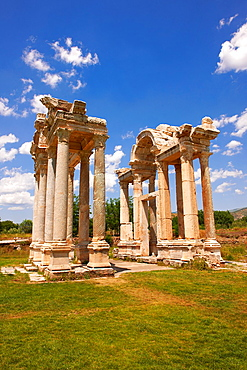 Picture of the double Tetrapylon Gate, Aphrodisias, Turkey A tetrapylon¥four gates¥ is an ancient type of Roman monument of cubic shape, with a gate on each of the four sides: generally it was built on a crossroads
