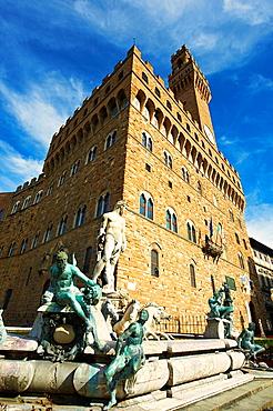 The Fountain of Neptune by Bartolomeo Ammannati 1575, in front of the Palazzo Vecchio , Piazza della Signoria in Florence, Italy,