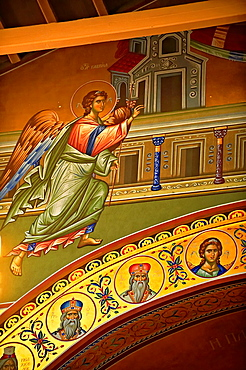 Reconstucted Byzantine style frescos of the 4th century AD 3 aisled Roamnesque basilica of Saint Demetrius, or Hagios Demetrios,  , a Palaeochristian and Byzantine Monuments of Thessaloniki, Greece A UNESCO World Heritage Site