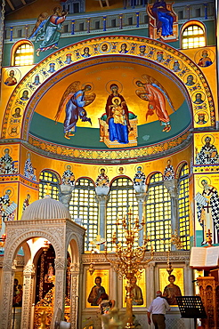 Reconstucted Byzantine style frescos of the 4th century AD 3 aisled Roamnesque basilica of Saint Demetrius, or Hagios Demetrios, a Palaeochristian and Byzantine Monuments of Thessaloniki, Greece A UNESCO World Heritage Site