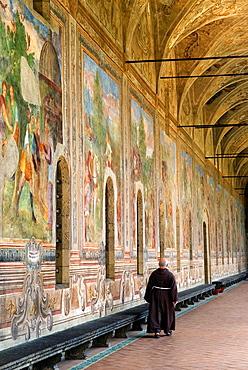 frescoes of the monastery cloister¥s arcades, Santa Chiara complex, Naples, Campania region, southern Italy, Europe