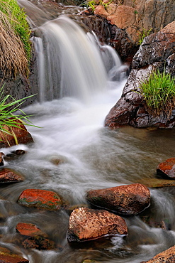 A small waterfall in spring runoff, Greater Sudbury Lively, Ontario, Canada