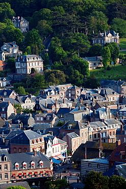 France, Normandy Region, Seine-Maritime Department, Etretat, elevated town view