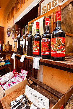 France, Corsica, Haute-Corse Department, Central Mountains Region, Corte, Corsican-made wines and brandies