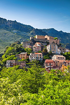 France, Corsica, Haute-Corse Department, Central Mountains Region, Corte, city and Citadel