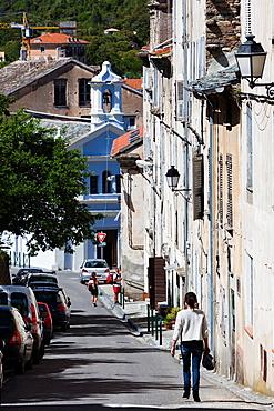 France, Corsica, Haute-Corse Department, Central Mountains Region, Corte, street detail, rue Colonel Ferracci