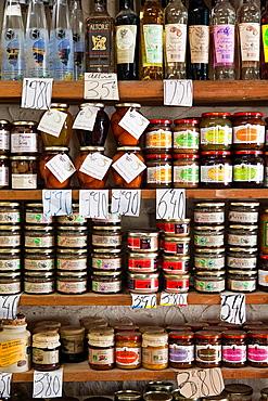 France, Corsica, Haute-Corse Department, Central Mountains Region, Corte, interior of Corsican products shop