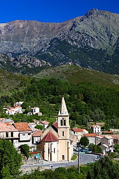 France, Corsica, Haute-Corse Department, Central Mountains Region, Vivario, elevated town view