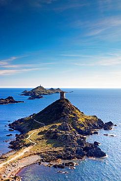 France, Corsica, Corse-du-Sud Department, Corsica West Coast Region, Ajaccio-area, Pointe de la Pirata, view of the Iles Sanguinaires, late afternoon