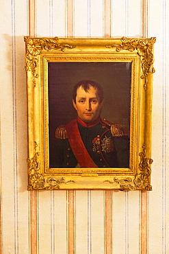 France, Corsica, Corse-du-Sud Department, Corsica West Coast Region, Ajaccio, Maison Bonaparte, birthplace of Napoleon Bonaparte, painting of Napoleon