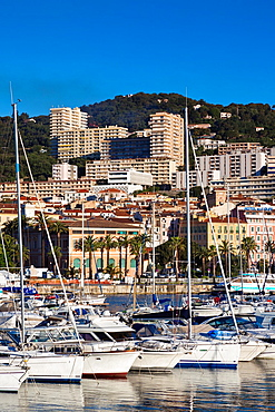 France, Corsica, Corse-du-Sud Department, Corsica West Coast Region, Ajaccio, city view from Port Tino Rossi