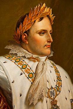 France, Corsica, Corse-du-Sud Department, Corsica West Coast Region, Ajaccio, Maison Bonaparte, birthplace of Napoleon Bonaparte, painting of Napoleon with gold crown
