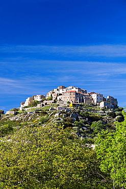 France, Corsica, Haute-Corse Department, La Balagne Region, Sant Antonino, elevated town view