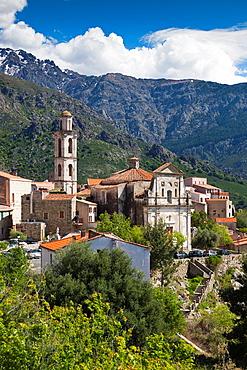 France, Corsica, Haute-Corse Department, La Balagne Region, Montemaggiore, elevated town view