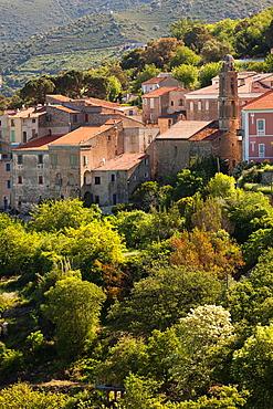 France, Corsica, Haute-Corse Department, La Balagne Region, Costa, elevated town view