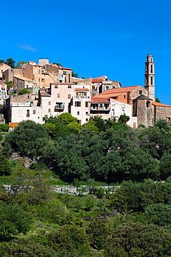 France, Corsica, Haute-Corse Department, La Balagne Region, Occhiatana, elevated town view