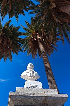 France, Corsica, Haute-Corse Department, La Balagne Region, Ile Rousse, Place Paoli, statue of Pascal Paoli, Corsican revolutionary