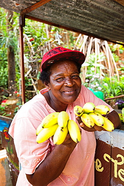 Dominica, Salybia, craft shop owner