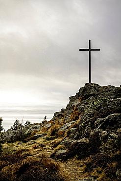 Cross on rocky hilltop. Arber, Grosser Arber, Bayerischer Wall