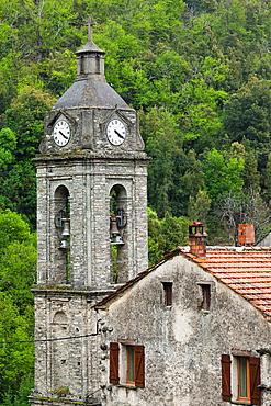 France, Corsica, Haute-Corse Department, Central Mountains Region, Le Bozio Area, Bustanico, town church